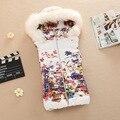 2016 Primavera Otoño nueva mujer short Diseño impreso chaleco Slim Fit con capucha chaleco yardas grandes de las mujeres ocasionales Outwear chaleco Z2360