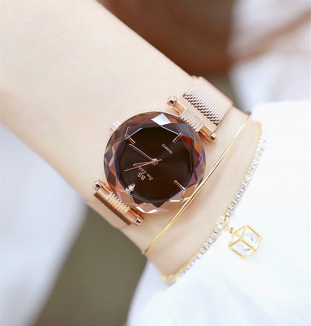 BS Bee Sister Women's Rhinestone Watches Lady's Crystal Wristwatches Magnet Steel Strap  Girl's Quartz Relogio Feminino Montre