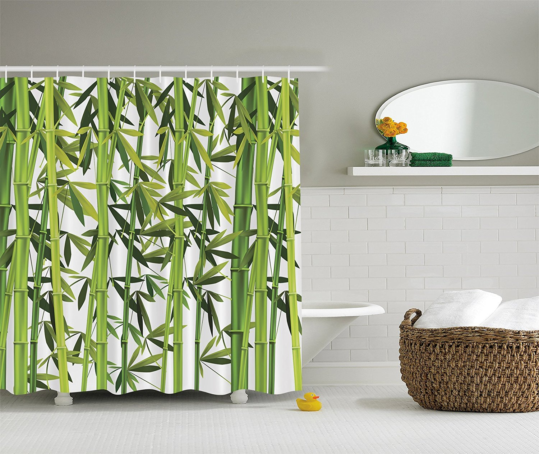 Bamboo shower curtain - Bamboo Trees Green Nature Art Prints Wildlife High Resolution Bath Home Textile Design Spa Bathroom Fabric