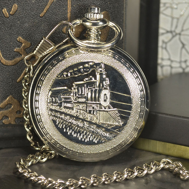 TIEDAN Double Face Steampunk Men Antique Luxury Brand Necklace Chain Silver Pocket Fob Watch  Skeleton Mechanical Pocket Watch