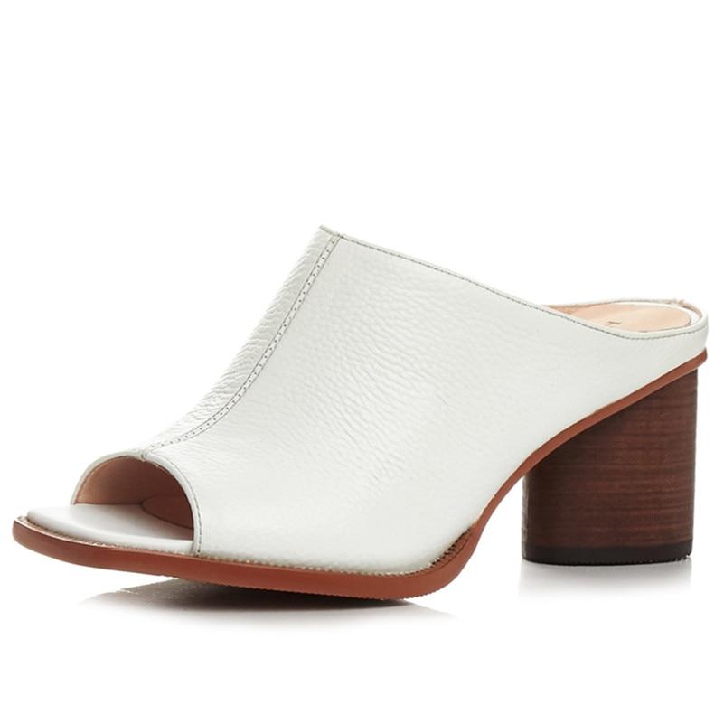 FEDONAS été femmes sandales en cuir véritable de haute qualité confortable en cuir à talons hauts respirant sandales dame chaussures femme-in Sandales femme from Chaussures    2