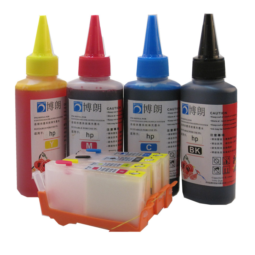 BLOOM compatible 655 655xl Refillable INK cartridge for HP Deskjet 3525 4615 4625 5525 6525 + for hp 4 Color Dye Ink 400ML bloom 920xl 920 refillable ink cartridge for hp officejet 6000 6500 6500a 7000 7500a for hp premium 4 color dye ink 400ml