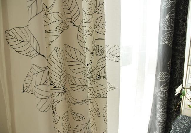 Gordijn katoen bladeren canvas gordijnen zwart wit woonkamer cortina ...