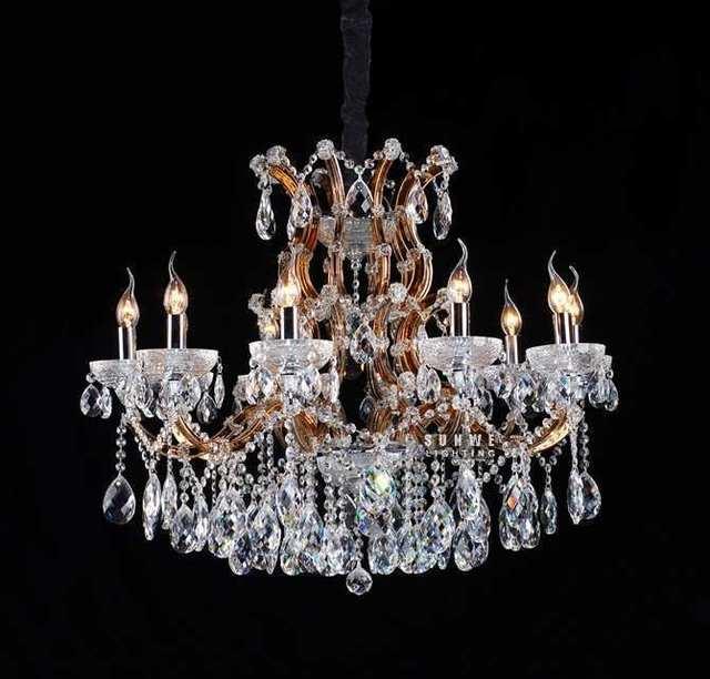 10 luci reale candela lampadario lampadario con gocce di cristallo ...