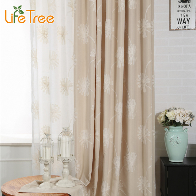 Linen Curtains For Living Room Flowers Embroidery Window Drapes Height 280cm Custom Made