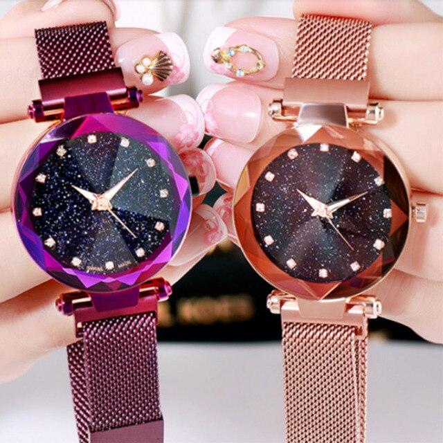 Women Stylish Quartz Wrist Watch Mesh Alloy Magnet Strap Starry Sky Dial Casual