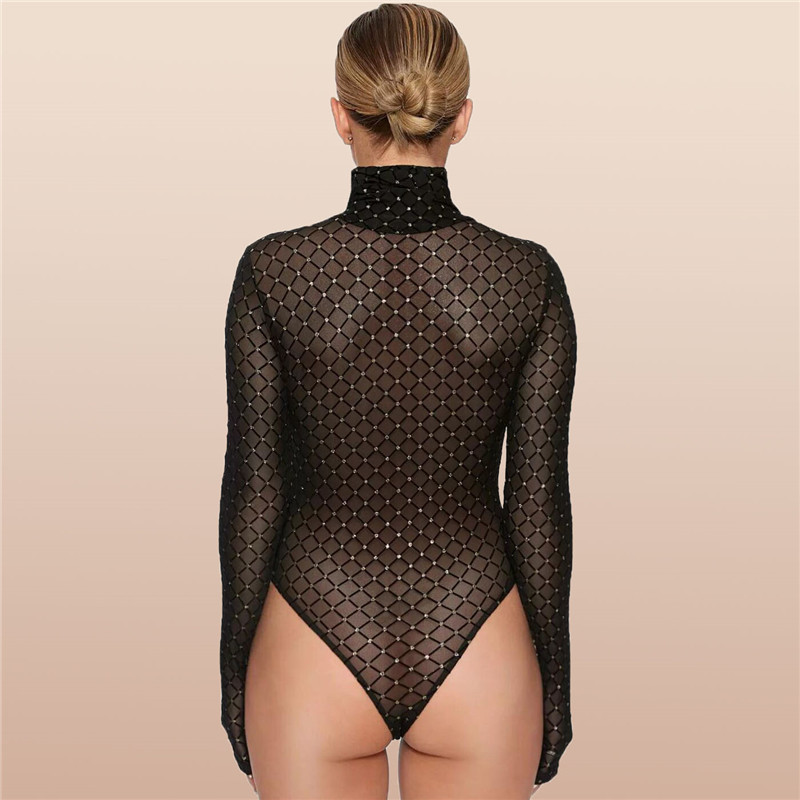 2018 Winter Sexy Sheer Mesh Bodysuit Women High Neck Long Sleeve Gilded Slim Black Bodycon Jumpsuit Rompers Playsuits in Bodysuits from Women 39 s Clothing