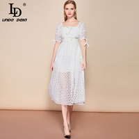 LD LINDA DELLA 2019 Fashion Summer Holiday Party Dress Women's Lantern Sleeve Solid Hollow out Lace Midi White Elegant Dress