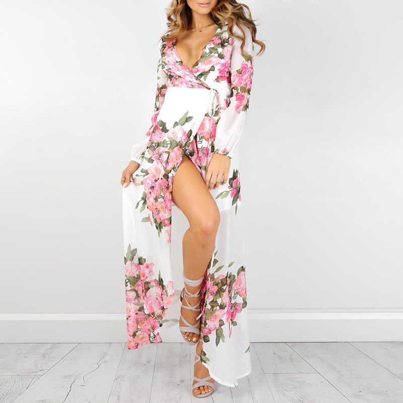 Women's Sexy Beach Cover Up Summer Floral Tunic Printed Chiffon Long Swimsuit Cover Up Pareo Beach Bikini Cover Up Swimwear 2017