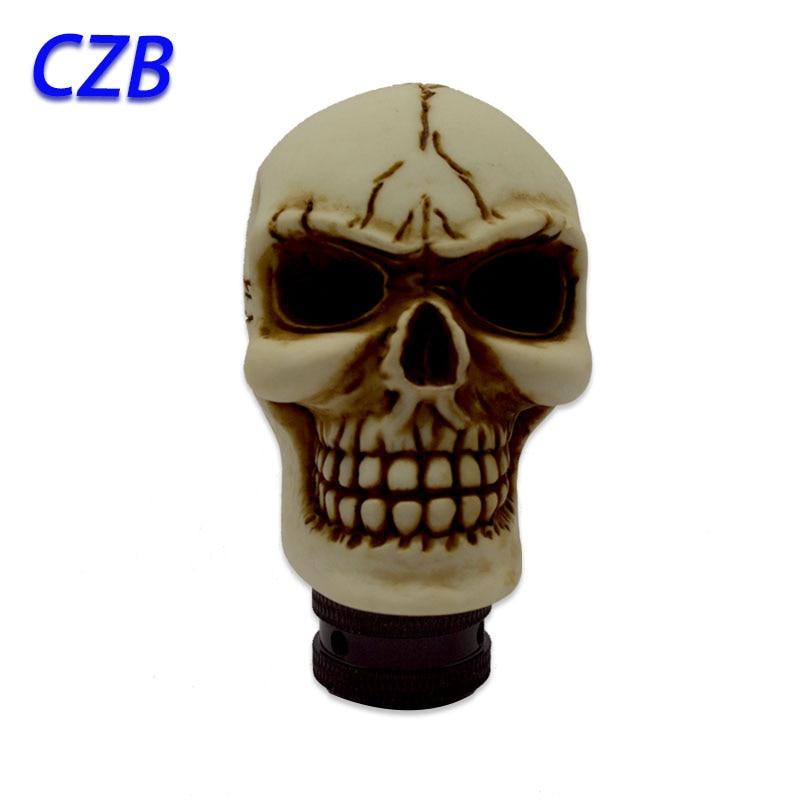 Hot 2019 Universal Manual Interior Parts Gear Stick Shift Shifter Lever Knob Evil white skull pattern tree Marches Γρήγορη αποστολή