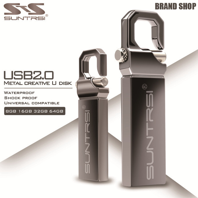 Suntrsi Metal USB Flash Drive 64GB Stain Steel Pendrive Waterproof High Speed Pen Drive 4GB 8GB 16GB 32GB USB Stick Flash Drive