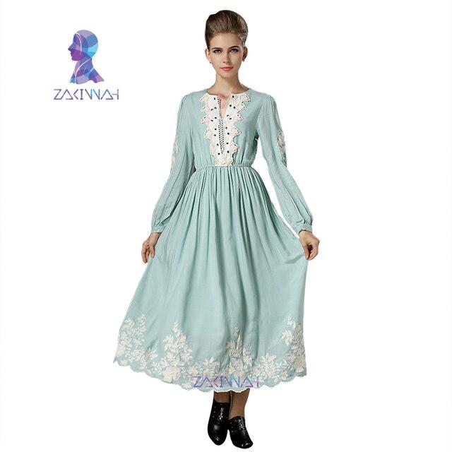 5836f8cb880d MD1701 autunno Semplice stile vintage abito lungo in pizzo bordo classico  grazia vestito delle donne musulmane