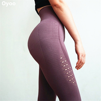 Oyoo Super Stretchy Gym Tights Energy Seamless Tummy Control Yoga Pants High Waist Sport Leggings Purple Running Pants Women