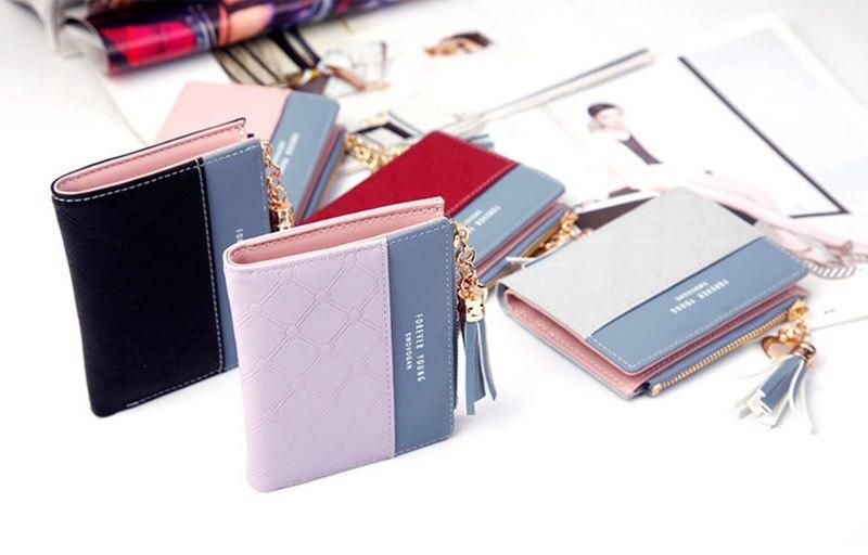 Leather Small Wallet Women Mini Women Wallets Purses Female Short Coin Zipper Purse Holder Tassel Zipper Button Bag (1)