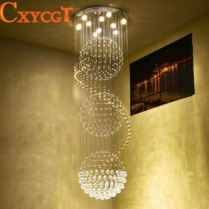 K9 Crystal Stair LED Chandeliers Modern Artistic Spiral Suspension Lightings Restaurant Hotel Villa Lobby Large Hanging