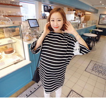 New Summer Clothes Lactation Lace Stitching Stripe   Fifth Sleeve T-Shirt Feeding Breastfeeding Clothes O-Neck Top