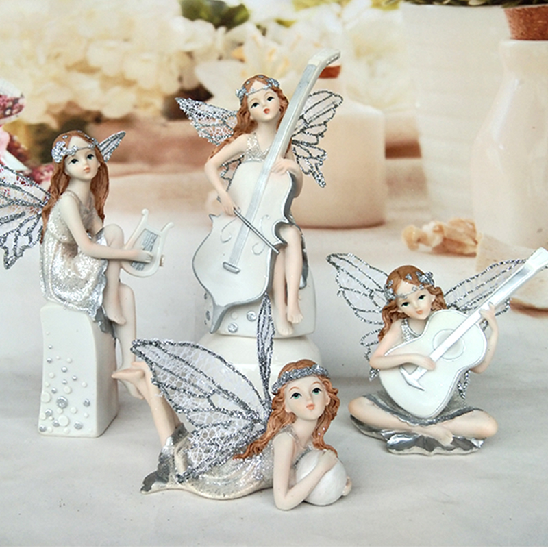 Resin Angel Beautiful Music Girl Flower Fairy Figurines Statues Home Decor Miniature Wedding Decoration Valentine's Day Gifts