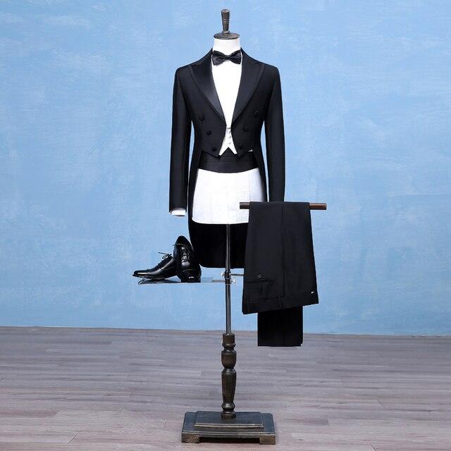 Black 2017 Long Tuxedo Jacket Slim Men Suit Set Pants 3 Piece Mens Suits Dovetail Evening Stage Formal Dress Wedding Suit
