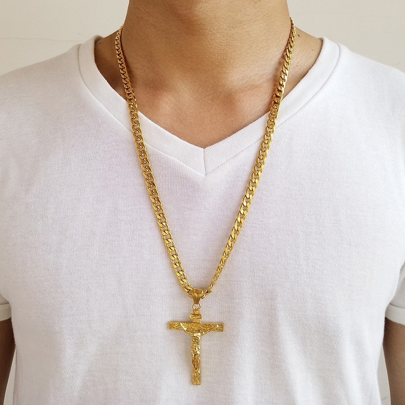 Mens Stainless Steel Gold Silver Cuban Jesus Cross Pendant Necklace Chain Link