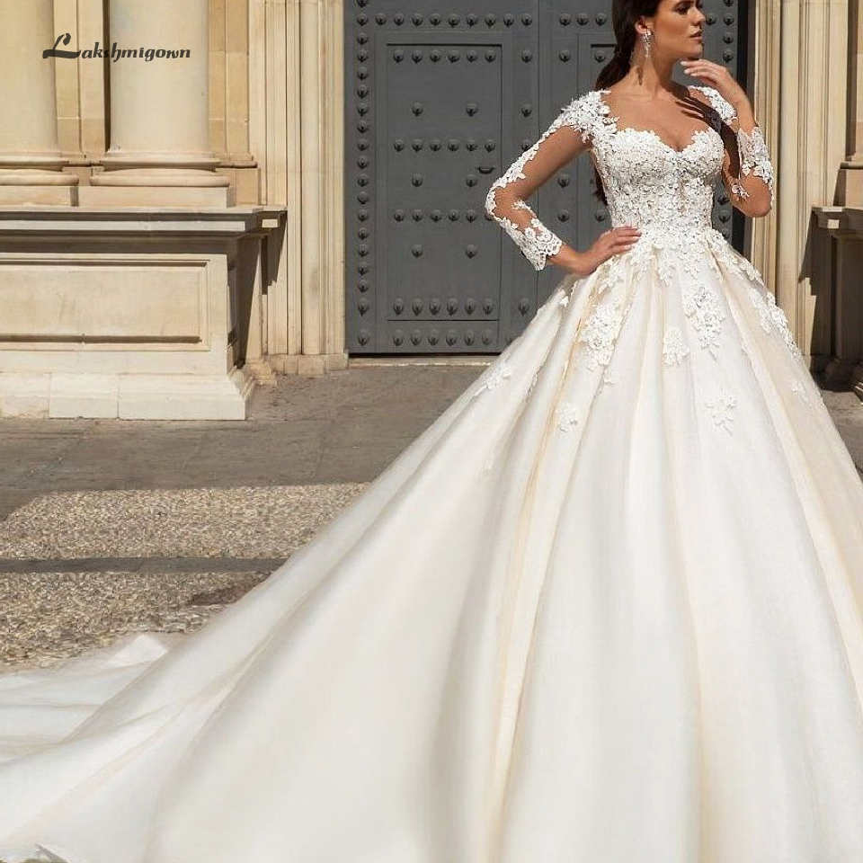 Lakshmigown Princess Sheer O-Neck Wedding Dress Long Sleeve 2019 Sexy Lace Applique Wedding Gown Tulle Bridal Dress Long Train