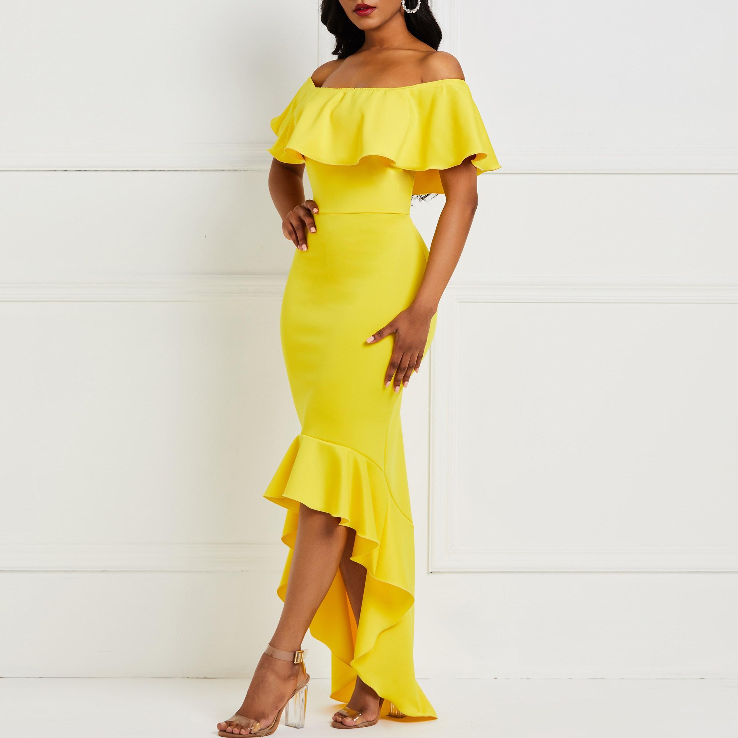 2019 Elegant Party Ruffle Maxi Dress Women Beach Yellow High Waist Asymmetric Dress Female Ol Strapless Sexy Long Dress in Dresses from Women 39 s Clothing