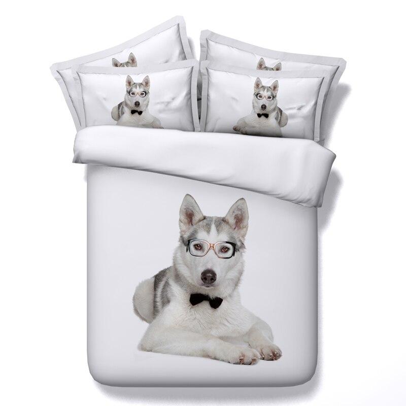 Husky perro de impresión 3d juego de cama edredón colcha doble completo reina re