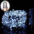 Control remoto 12 M 240 Led Luces de la Secuencia de La Batería Operado 8 Modo de Alambre de Plata cadena de luz al aire libre para el Nuevo Año decoración