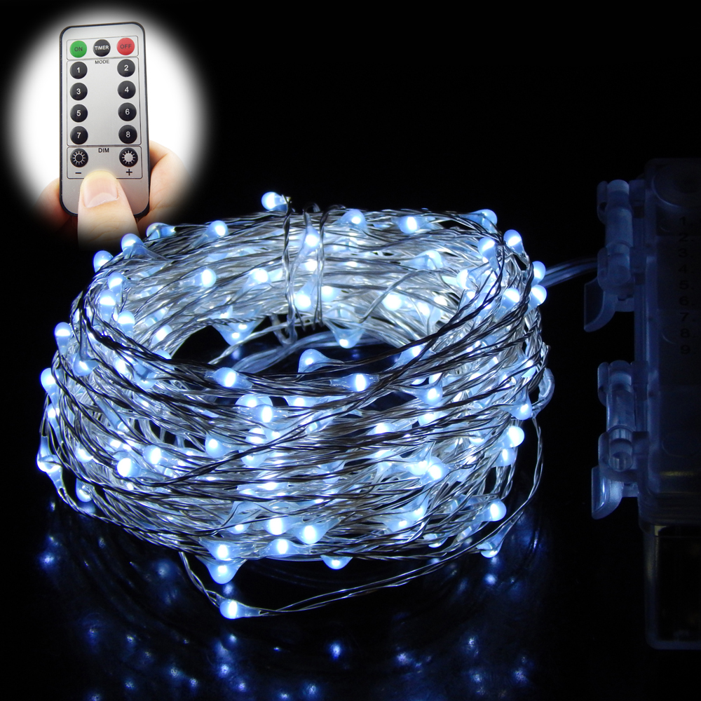 Remote Control 12M 240 LEDs String Lights Battery Operated 8 Mode Silver Wire outdoor light ...