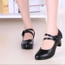 2018 New Style With Black Cowhide Black Ladies Middle Heel. Round Head Comfortab