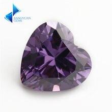 3x3 ~ 12x12 мм Сердце Форма 5a фиолетовый цвет Цирконий камень