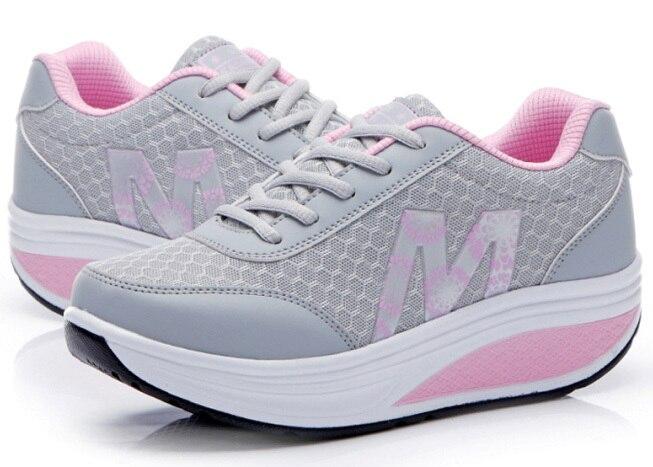 Г. женские дышащие летние женские кроссовки обувь на платформе, увеличивающая рост тонкие туфли на танкетке - Цвет: Gray