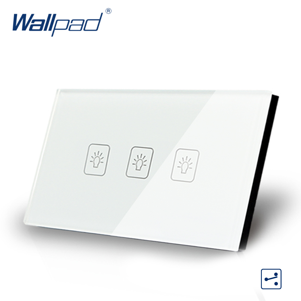3 Gang 2 Way US/AU Standard Wallpad Touch Switch Touch Screen Light Switch White Crystal Glass Panel Free Shipping free shipping us au standard touch switch 1 gang 2 way control crystal glass panel wall light switch kt001dus
