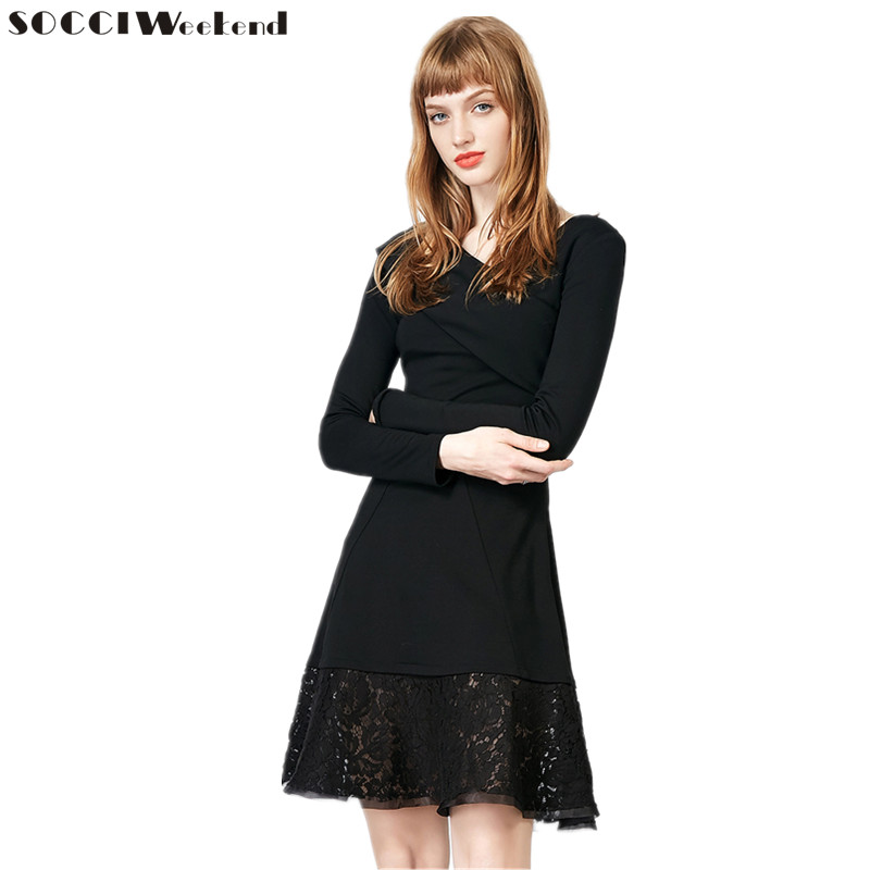 SOCCI Little Black   Dress   Criss-Cross Tops V Neck Ruched   Cocktail     Dresses   Long Sleeves Knee length Elegant Formal Prom Party Gown