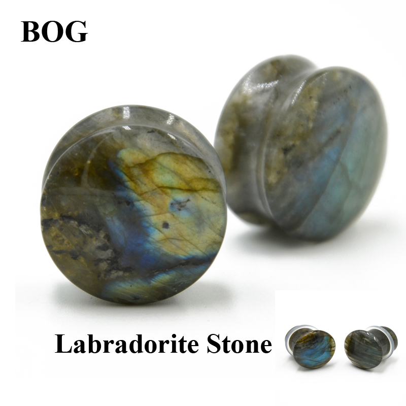 BOG-Pair Double&Single Flared Plug Labradorite Stone Ear Flesh Tunnel Plugs Glow Stone Ear Gauges Expander Body Piercing Jewelry цены