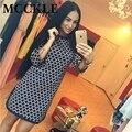 Mcckle xadrez impressão das mulheres mini vestidos turno 2017 moda verão 3/4 do vintage de manga comprida side dividir dress em torno do pescoço das senhoras vestidos