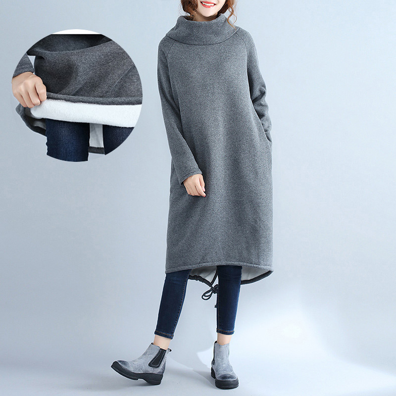 Clothes for Pregnant Women Female Dress Plus Size Cashmere Loose Tops Lady's Winter Long Sleeve Autumn Maternity Clothing chic scoop collar long sleeve hit color plus size dress for women