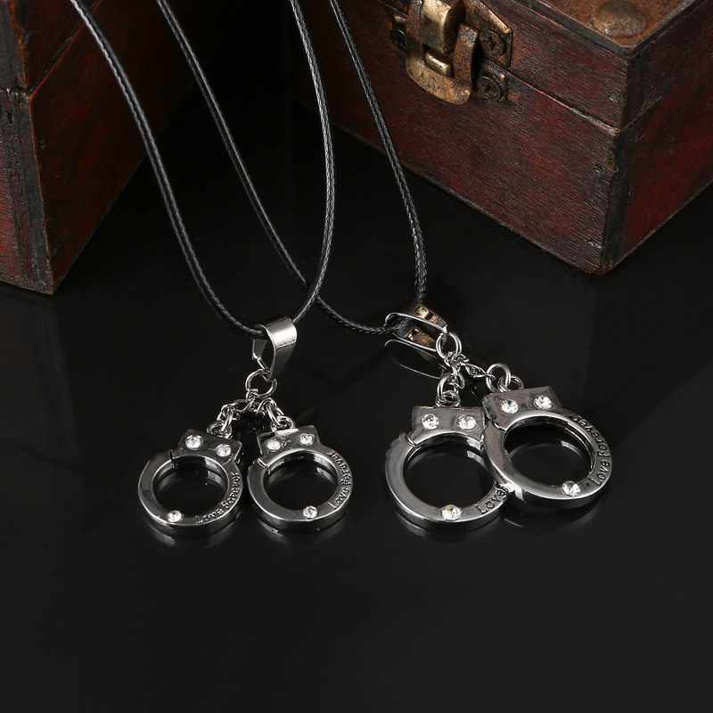 New Fashion Men Women Stainless Steel Handcuffs Pendants Necklaces Genuine  Leather Vintage Necklaces For Lovers