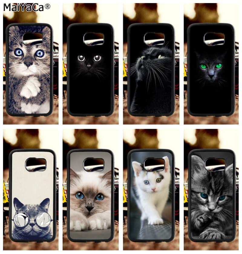 cute black cat staring eyes soft TPU edge phone cases for samsung s6 plus s7 s8 s9 s10 lite e note8 note9 case