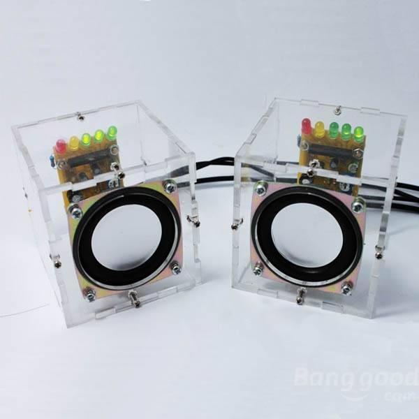 Factory Wholesale Free Shipping DIY Mini Amplifier Speaker Kit Transparent Speaker Electronic Learning Kit