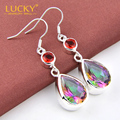 Fashion Design style Jewelry Romantic Rainbow Fire Mystic synthetic Topaz silver Plated branded earrings for nice lady