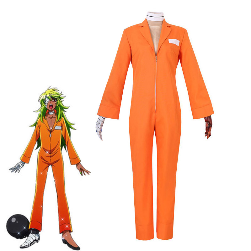 Anime Nanbaka Detentionhouse Niko Rock Cosplay Costume Unisex Adult Jumpsuits Halloween Carnival Jail Uniforms Custom Made