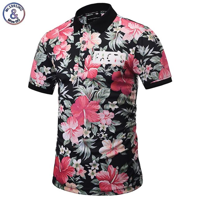 Mr.1991INC Harajuku POLO Shirts Men Summer Tops 3D Print Leaves And Flowers Fashion Brand Polo Shirts