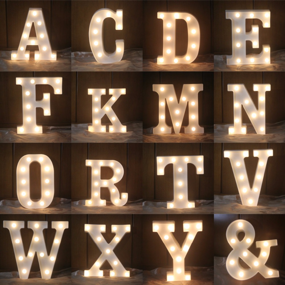 22CM White Letters LED Night Light Marquee Sign Alfabet - Nattlampor - Foto 2
