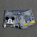 Free shipping 2016 Hot Denim Shorts Casual Women Jeans Short  Plus Size Animal Character Sequined Retro Ripped Shorts B329