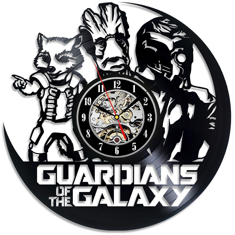 Guardians of the Galaxy Vinyl Record Wall Clock Large Gift For Boy Marvel Comics