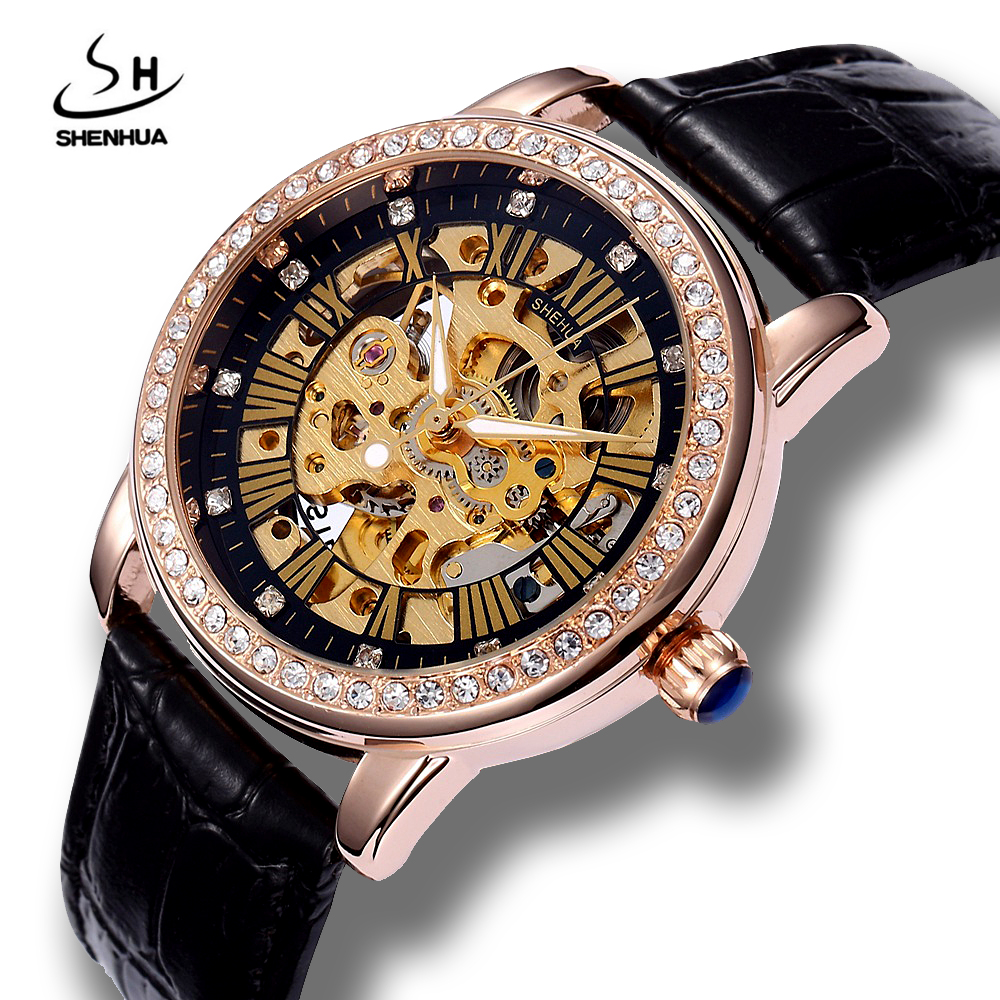 Shenhua 2017 Womens Self Winding Luxury Rose Gold Skeleton Mechanical Watch ladies Power Automatic PU Leather Wrist Watches ultra luxury 2 3 5 modes german motor watch winder white color wooden black pu leater inside automatic watch winder