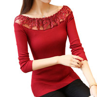 New 2017 Spring Autumn Sexy Lace Knitted Sweater Women Slash Neck Slim Fit Elastic Sweaters Female