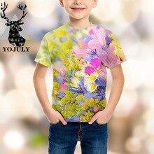 YOJULY свежие цветы для мальчиков и девочек подростков 3d принт футболка Дети с коротким рукавом модные футболки детская одежда летние Modis A81