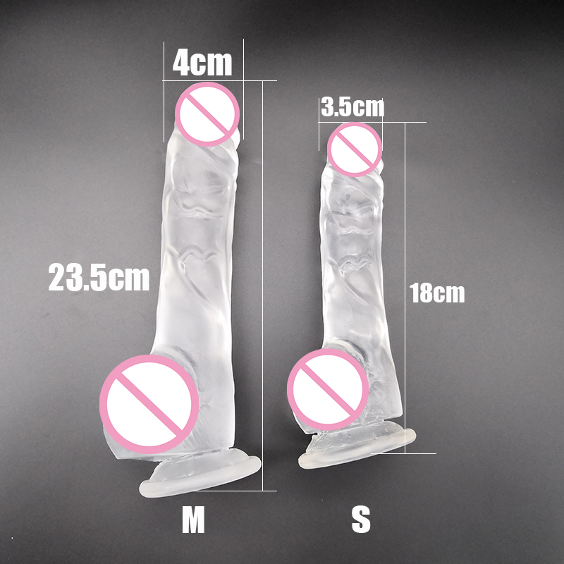 M-050 New Arrival Highly Transparent 23.5CM 18.5CM Dildo With Suction Cup Fake Penis Sex Toy For Women