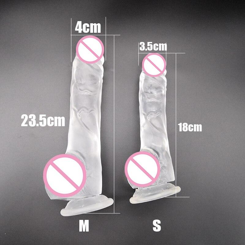 M-050 nouveauté très Transparent 23.5CM 18.5CM gode avec ventouse faux pénis Sex Toy pour les femmes